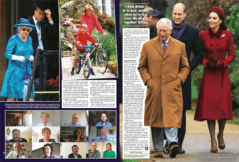 Two pags of a newspaper with photos of a Royal Family
