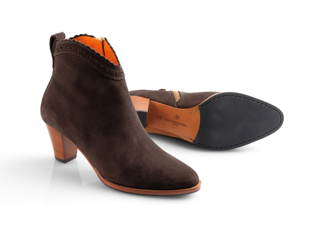 High-heeled brown ankle boots