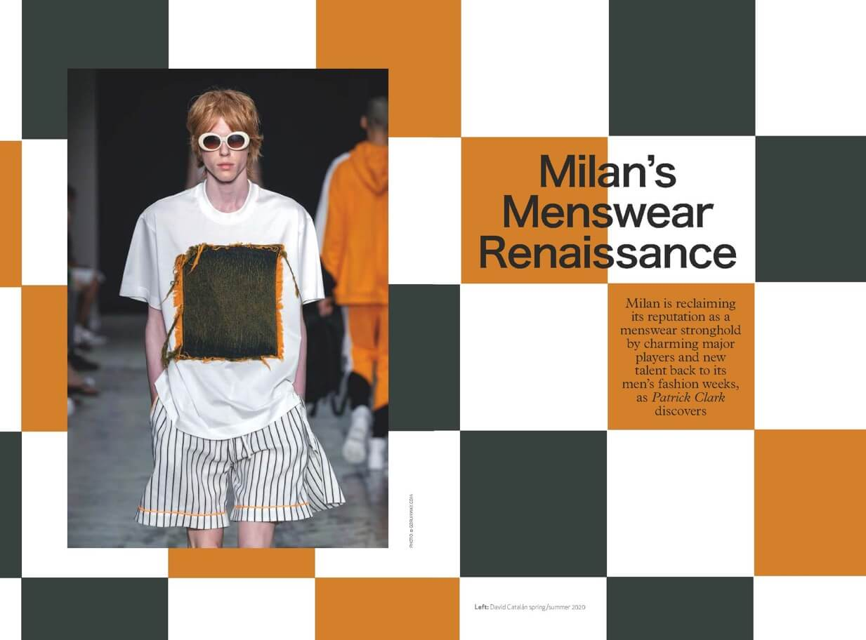 Inner pages of Global Blue Magazine showing a male model from Milan catwalk