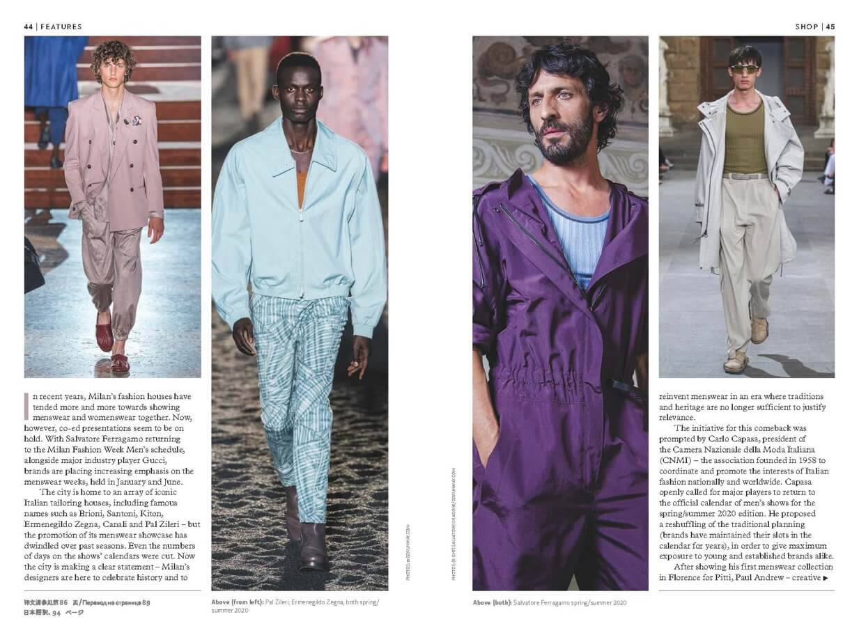 Two pages from Global Blue Magazine with men photos from catwalk