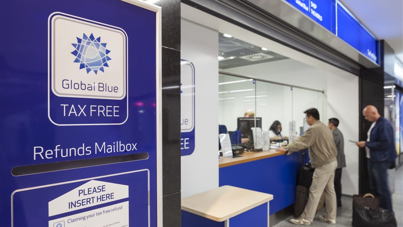 Global Blue refunds mailbox placed in a train station