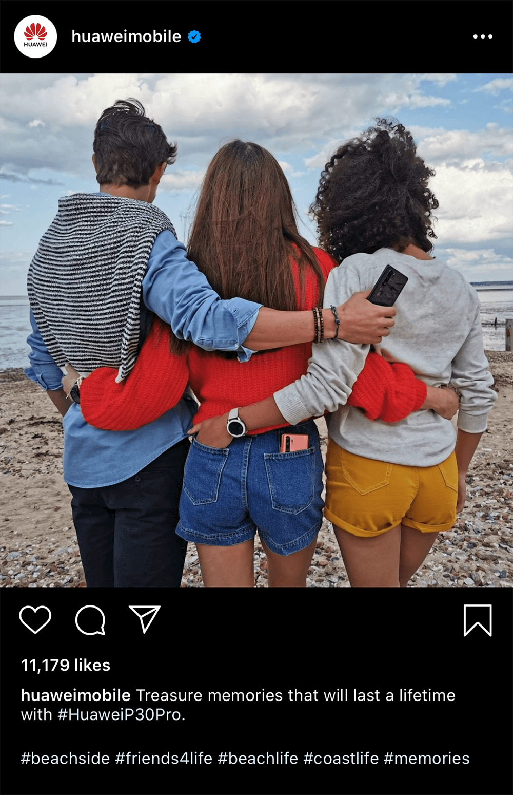 Huawei Instagram post with a photo of three people