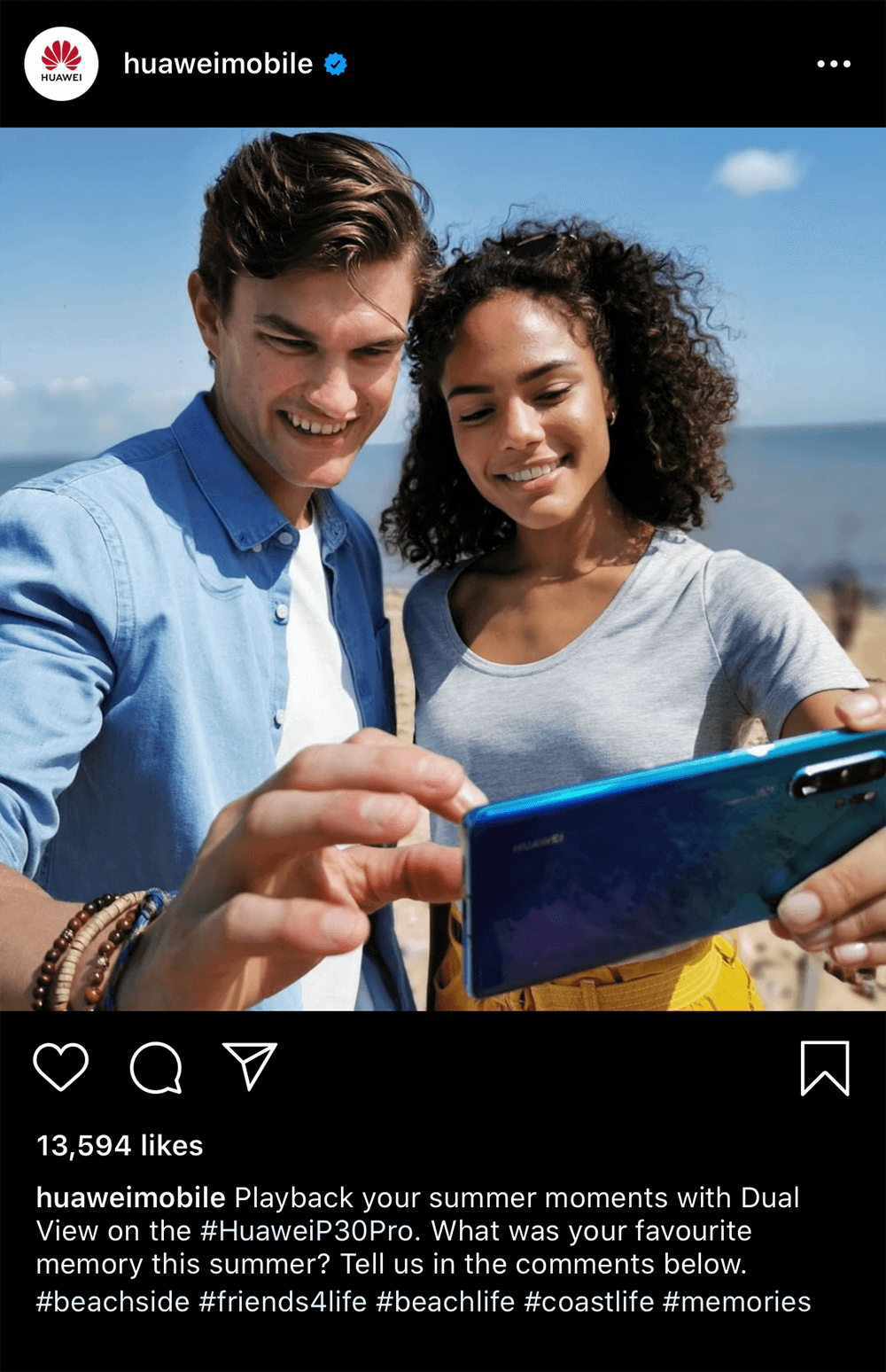 Huawei Instagram post with a photo of two people watching something on a phone