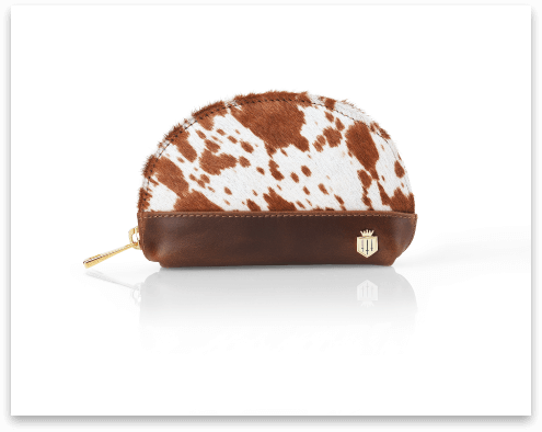 Small brown purse with animal print