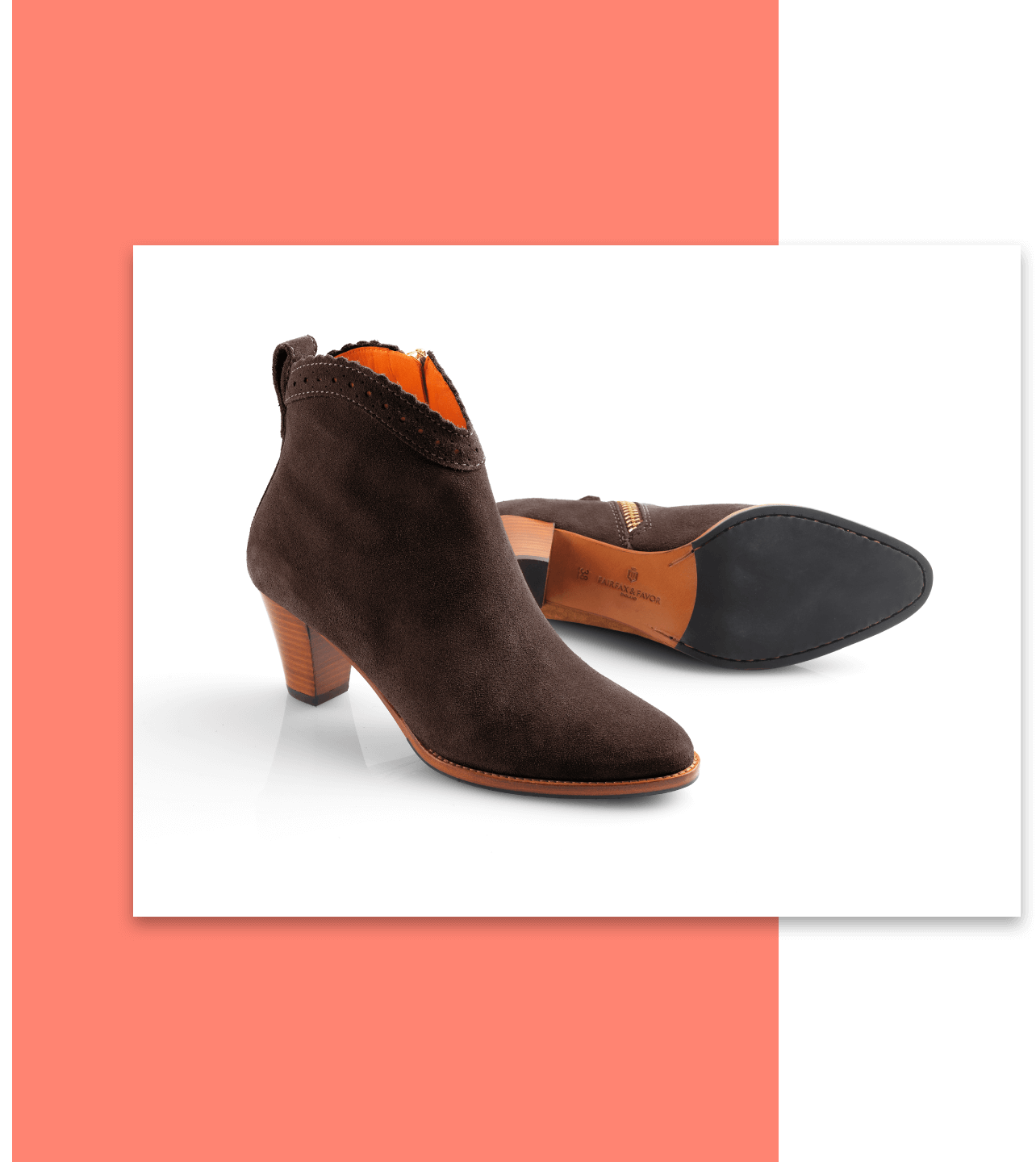 High-heeled brown ankle boots on a colorful background