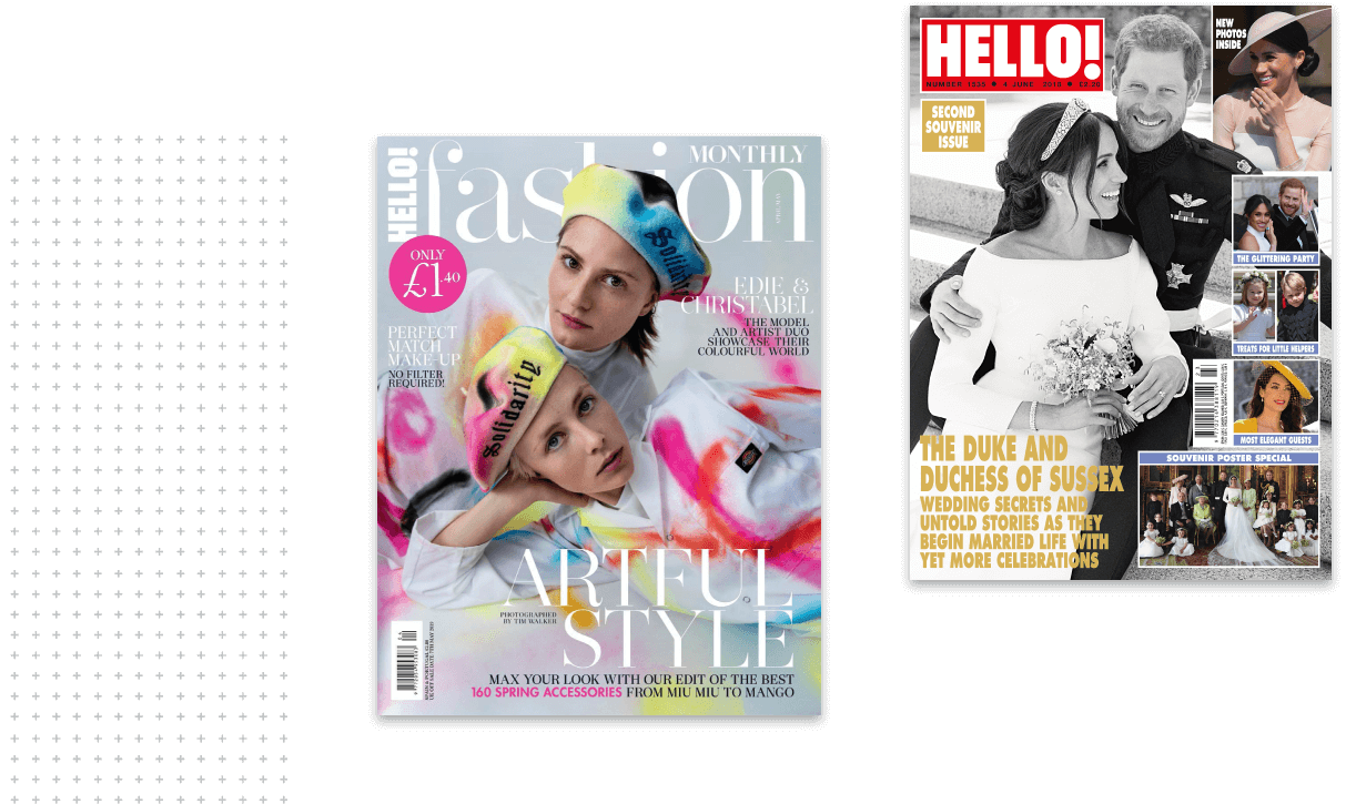 Two covers of Hello! magazine on a black background