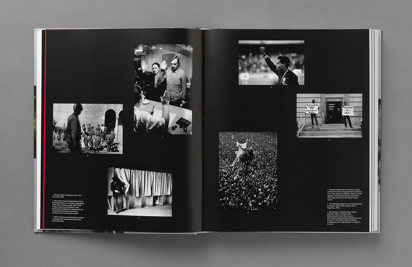 The inner pages of a book presenting black and white photos