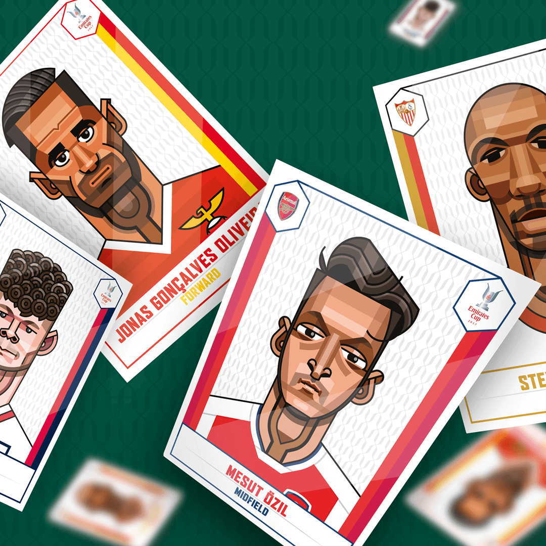 A poster with the cards of Arsenal players that are depicted as animated characters