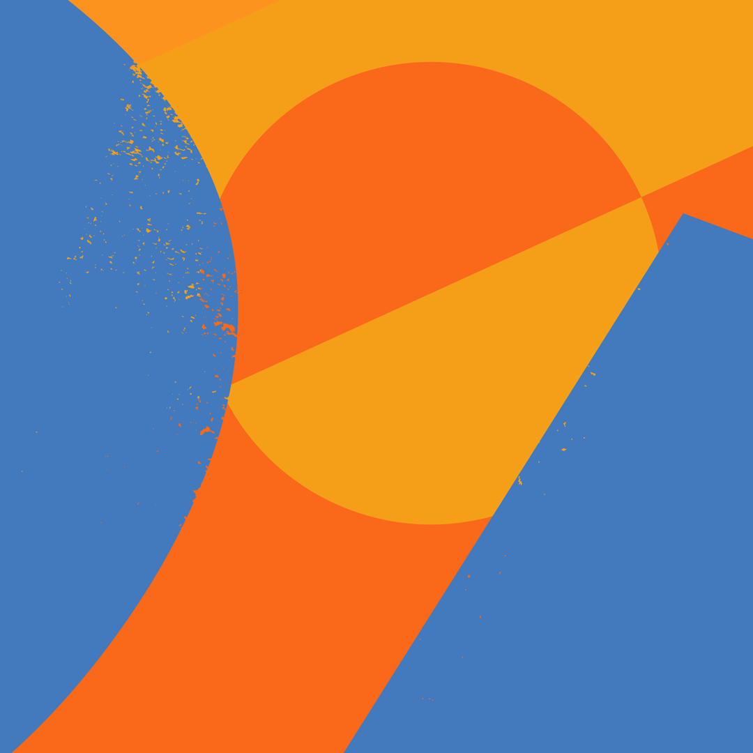 Blue, orange and yellow poster that is a background for Amazon post