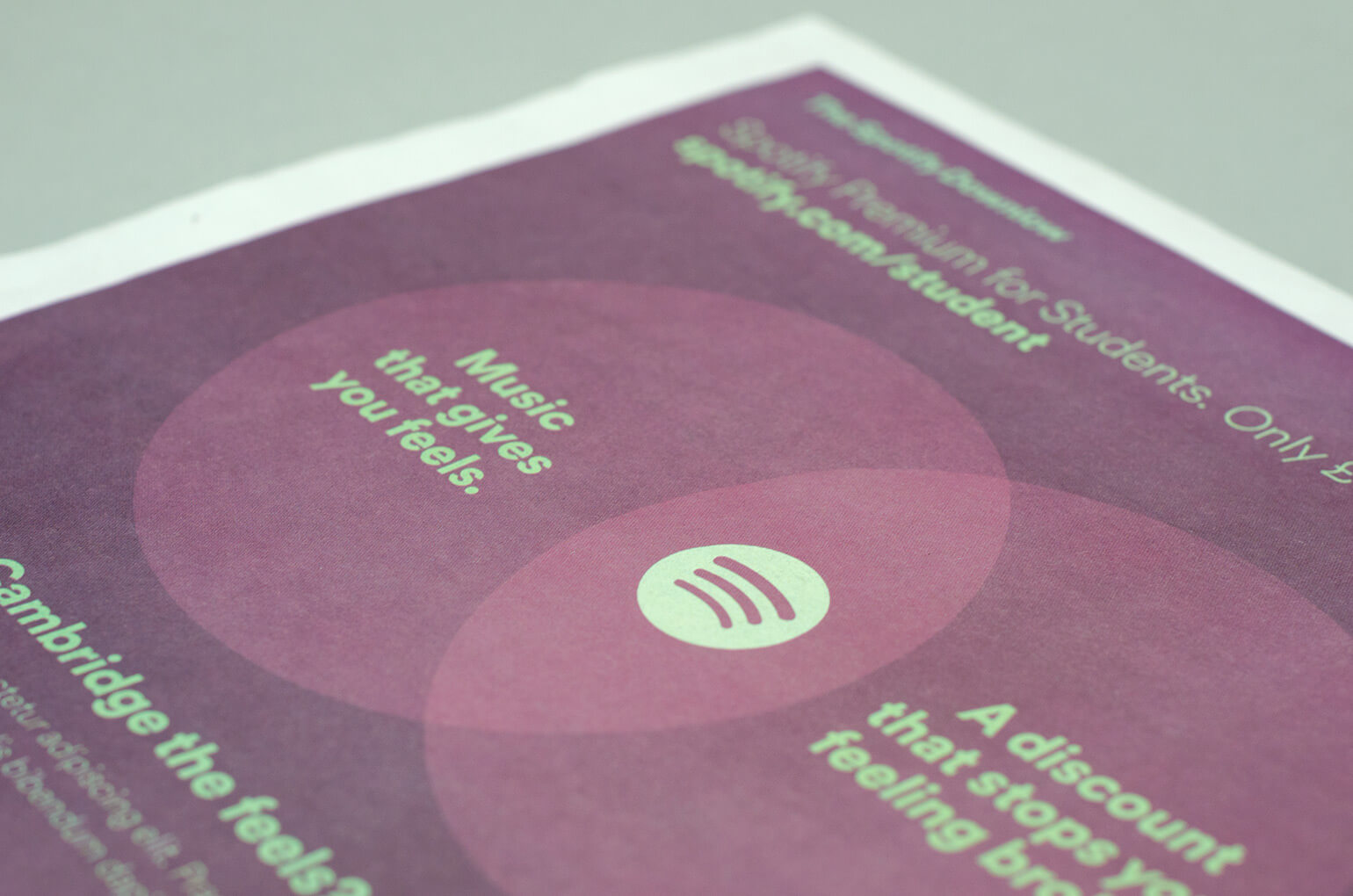 Printed materials from a Spotify campaign