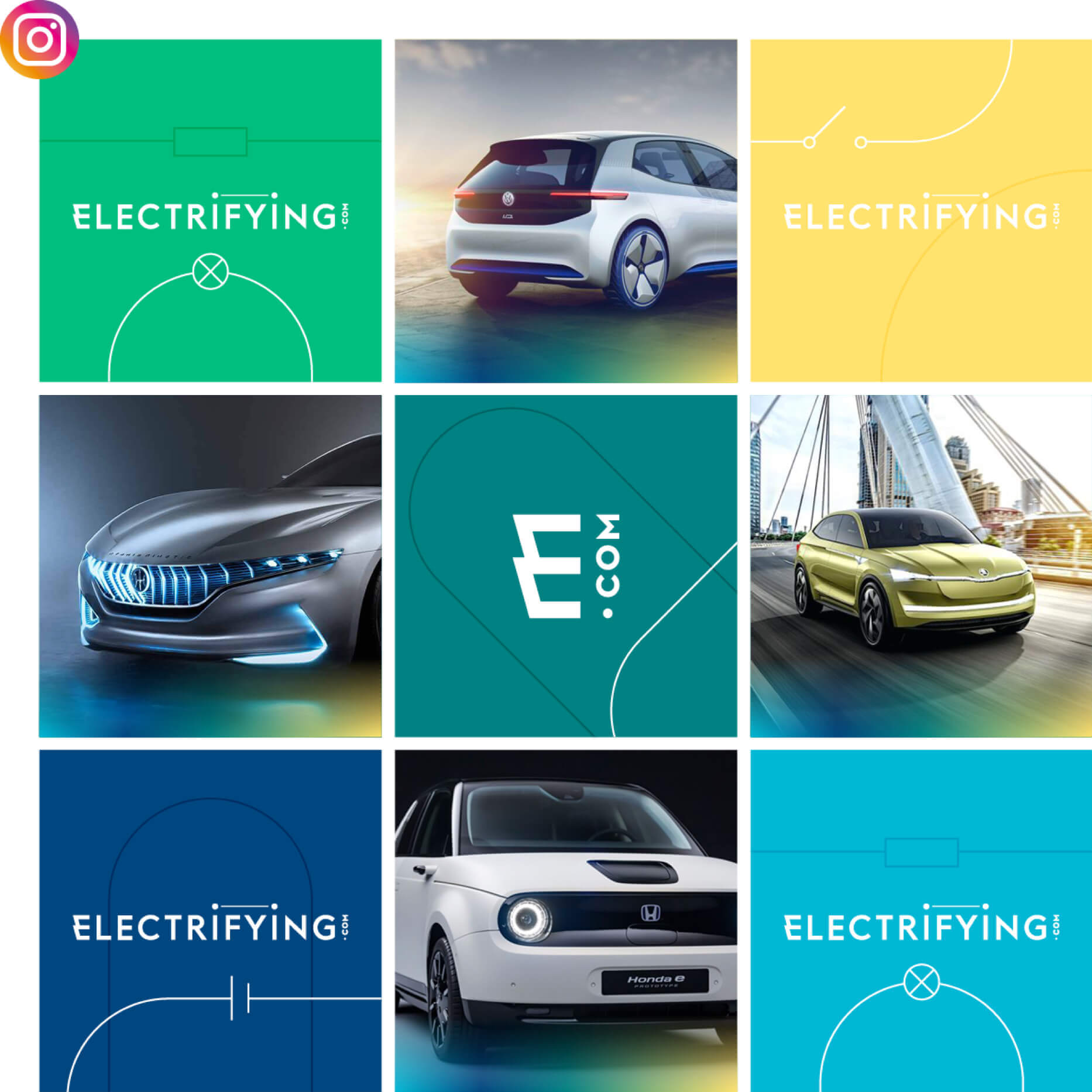 Electryfing company ad with multiple pictures of cars