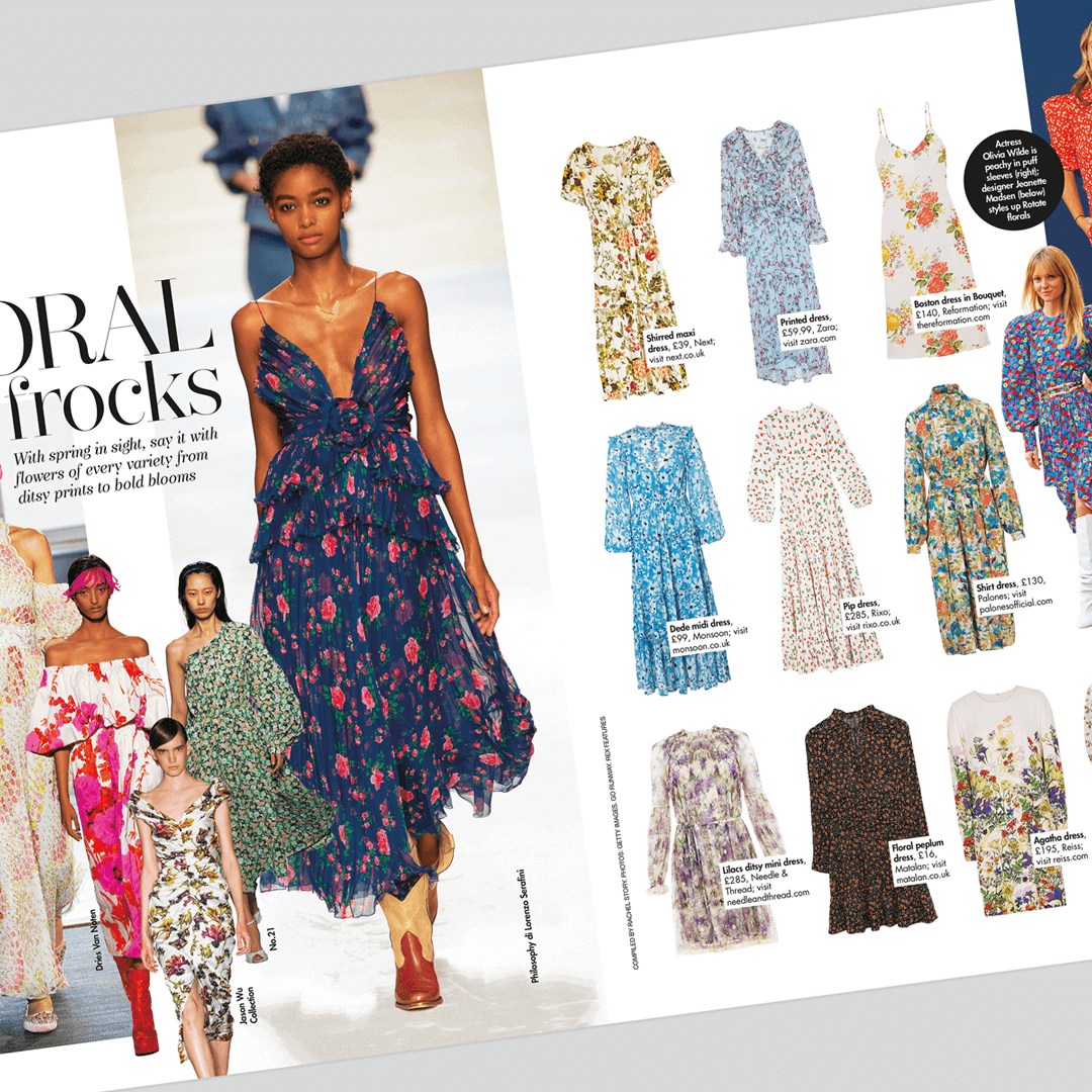 Patterned dresses that were presented in Hello! magazine that is one of the most read magazines in UK