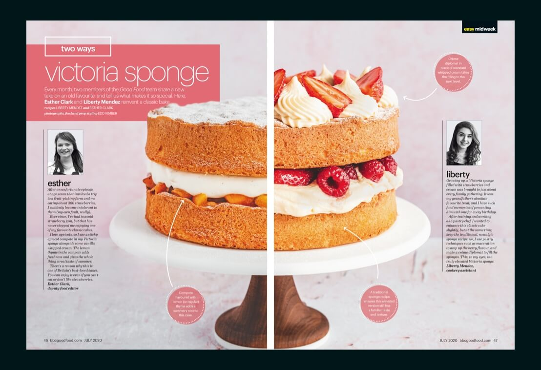 Page from a magazine that shows cakes reciepies