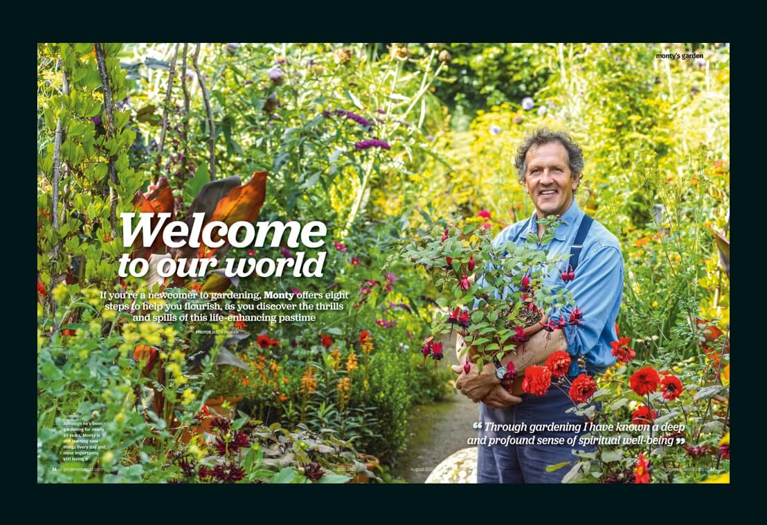 Article about gardening, the main photo presents a gardner that holds some plants