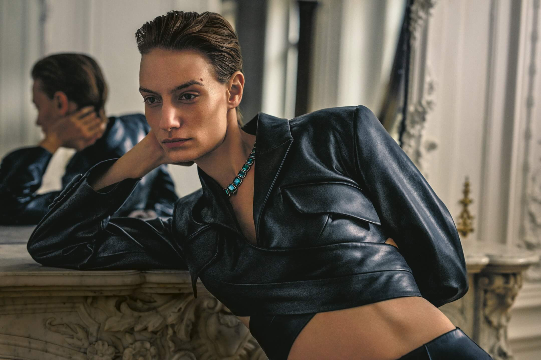 A photo of leather jacket from a Net-A-Porter campaign
