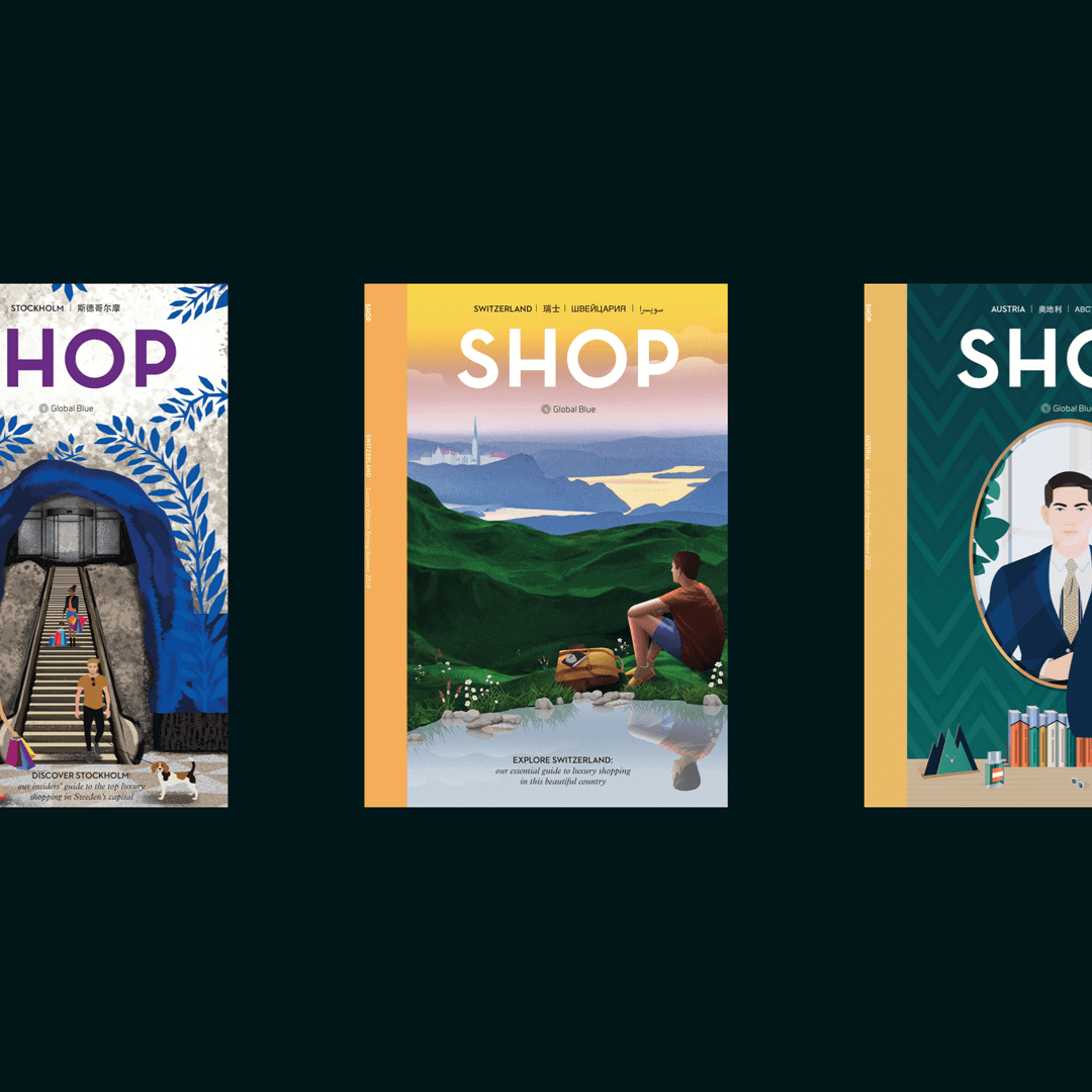 Three different magazines that were created by Rhapsody team for Global Blue