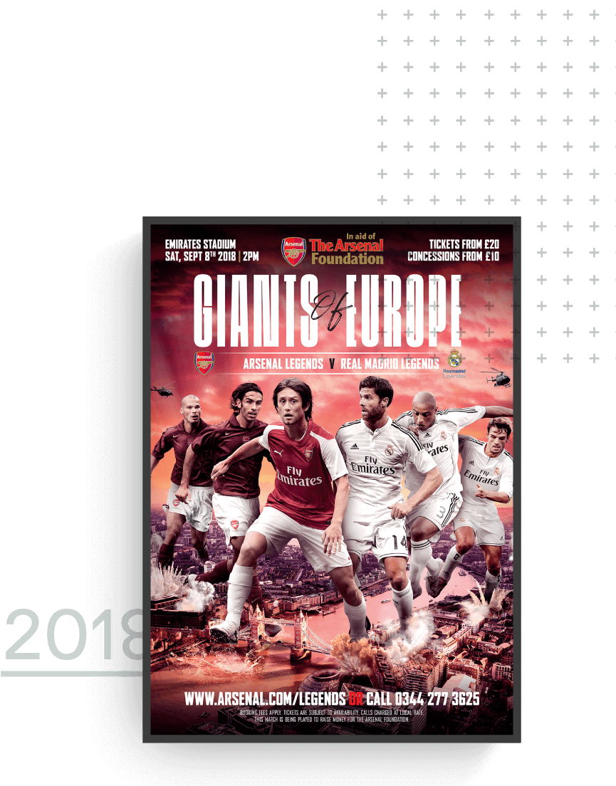 Arsenal Legends vs Real Madrid Legends match day poster 2018