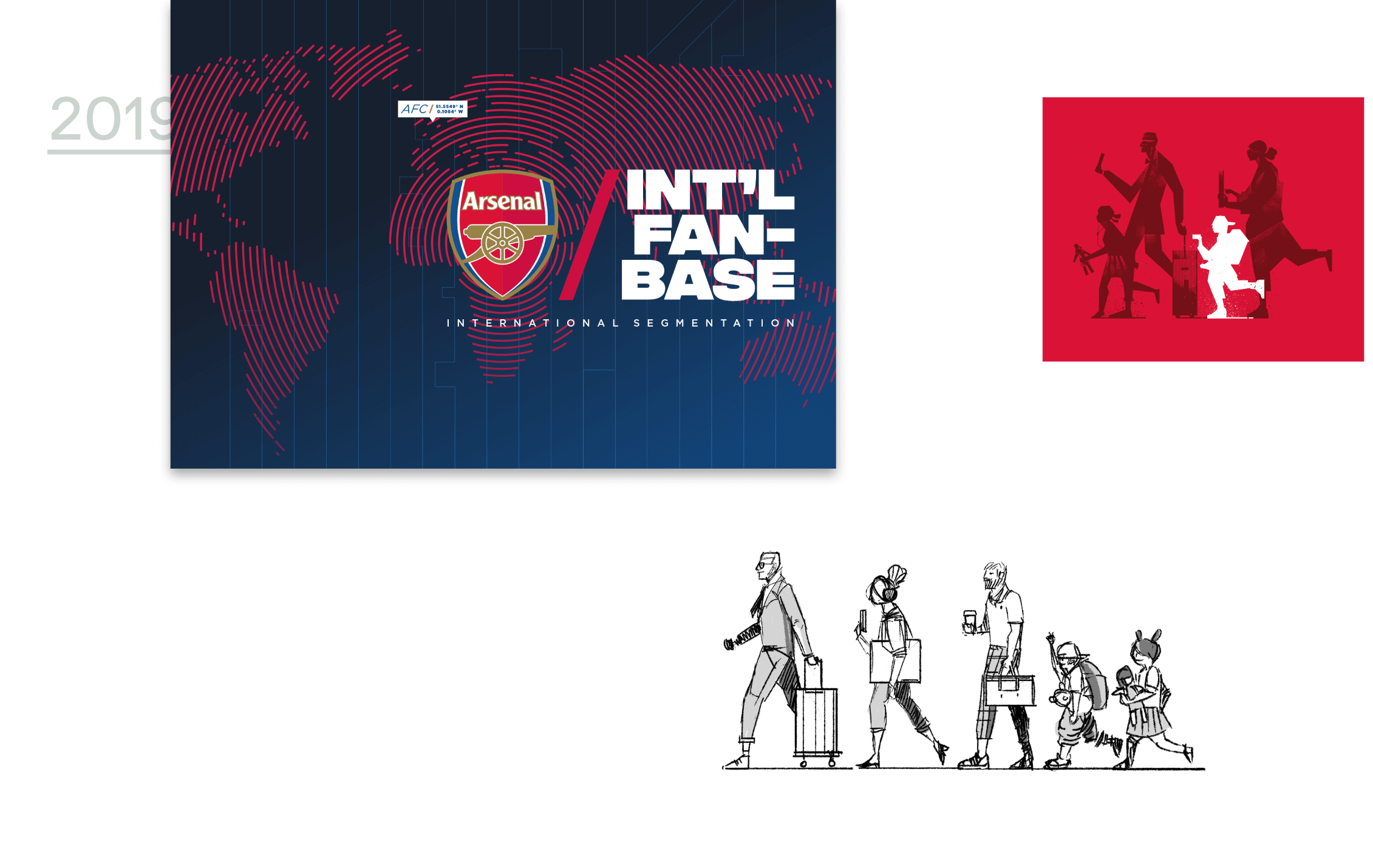 Three Arsenal Promotion Graphics in blue, red, white and black