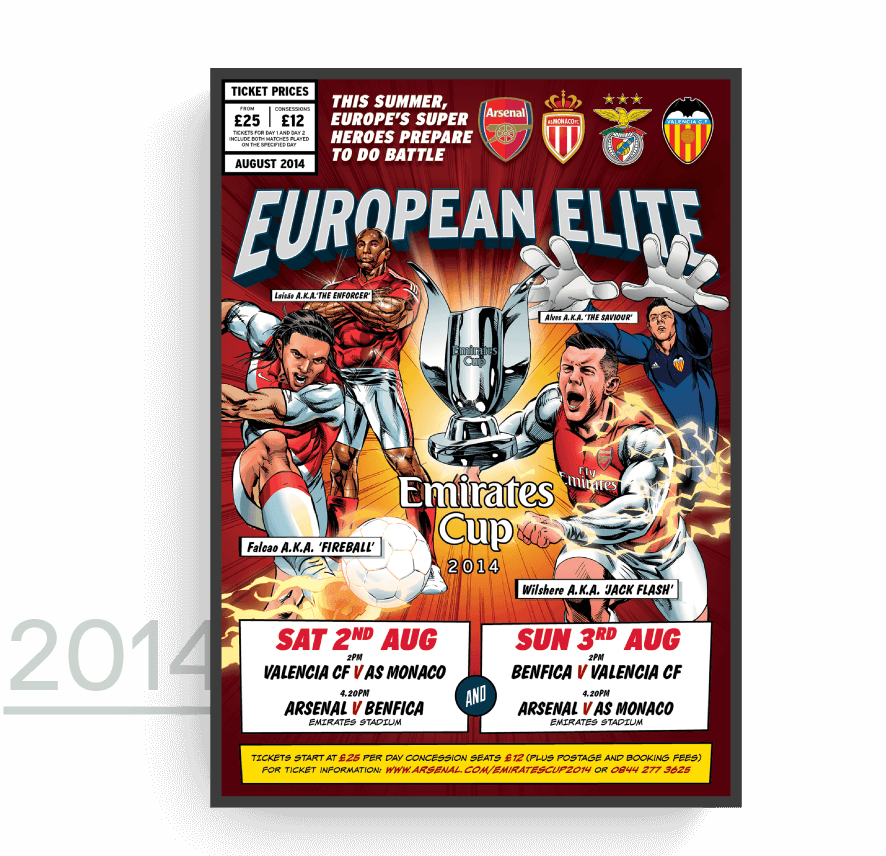 Emirates Cup 2014 promotion poster done in cartoon style