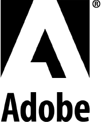 Black logo of Adobe