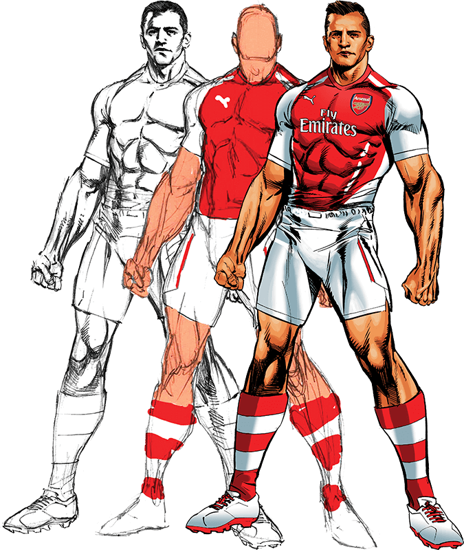 Three phases of sketching a football player wearing Arsenal outfit