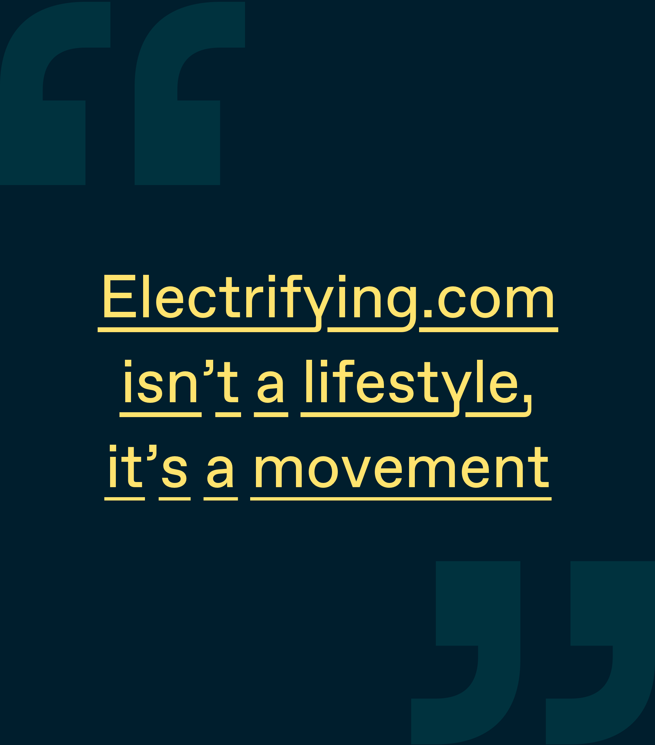 Electryfing company banner with short slogan